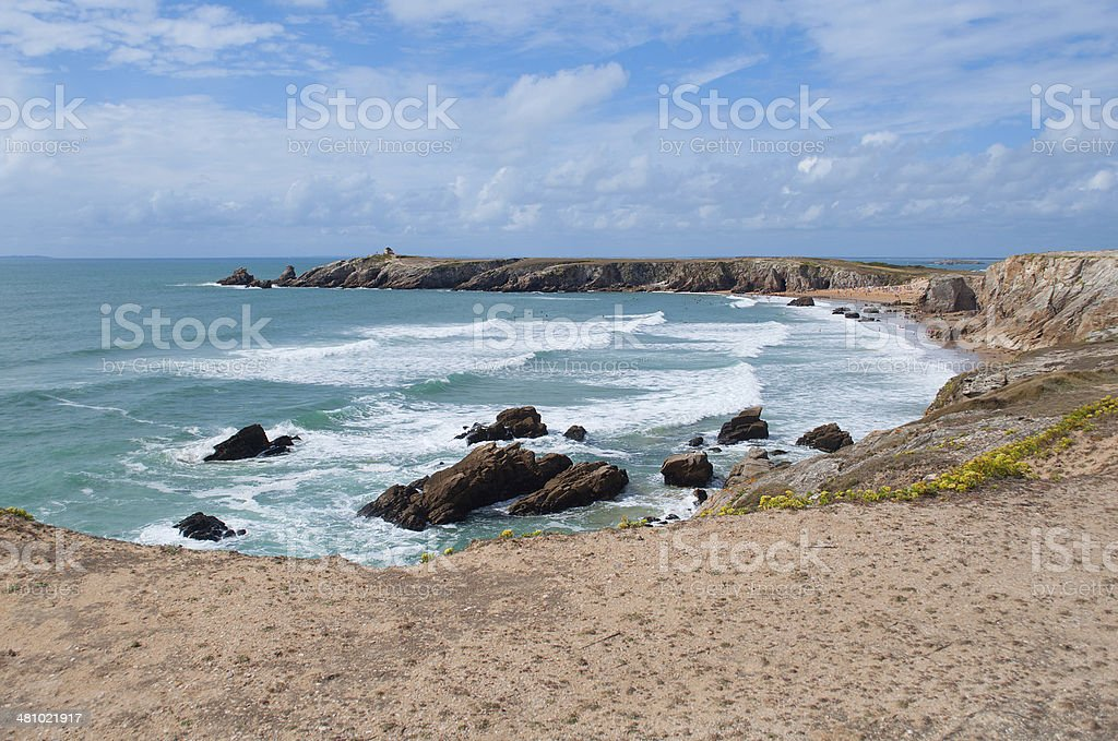 cliffs and ocean on the coast of Quiberon stock photo