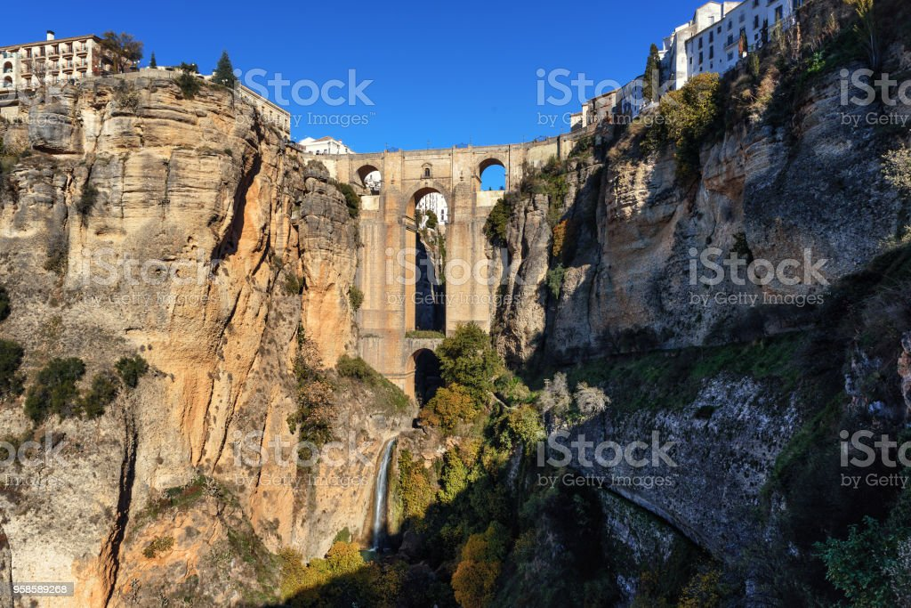 Cliffs and Puente Nuevo bridge in Ronda, one of the famous villages in Andalusia, Spain stock photo
