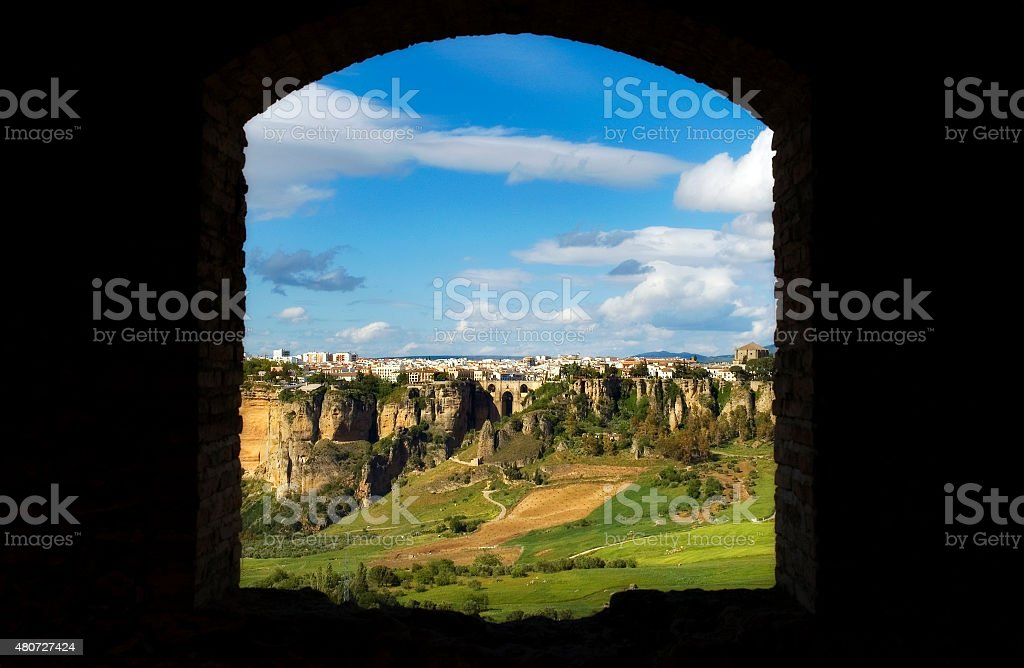 Cliffs and Puente Nuevo, Ronda, Andalusia, Spain stock photo