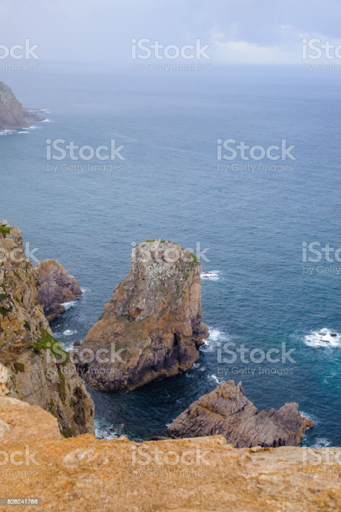 Cliffs and rocks of Cabo da Roca, the westernmost extent of continental Europe (Euroasia) stock photo