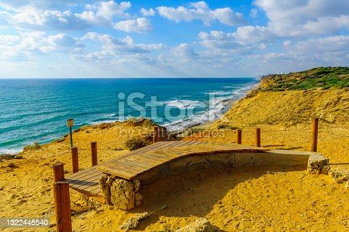 istock Cliffs and the Mediterranean Sea coast, in Hof HaSharon National 1322445540