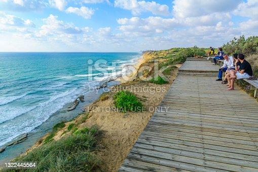 istock Cliffs and the Mediterranean Sea coast, in Hof HaSharon National 1322445564
