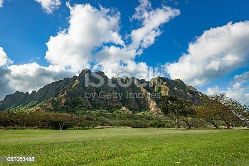 beautiful cliffs and trees of kualoa ranch, oahu island, hawaii islands, usa.