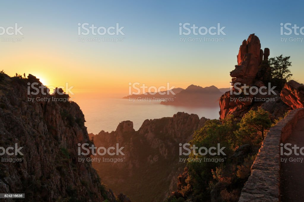 Cliffs at Calanche de Piana stock photo