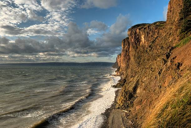Cliffs at Cape D'Or, Nova Scotia stock photo