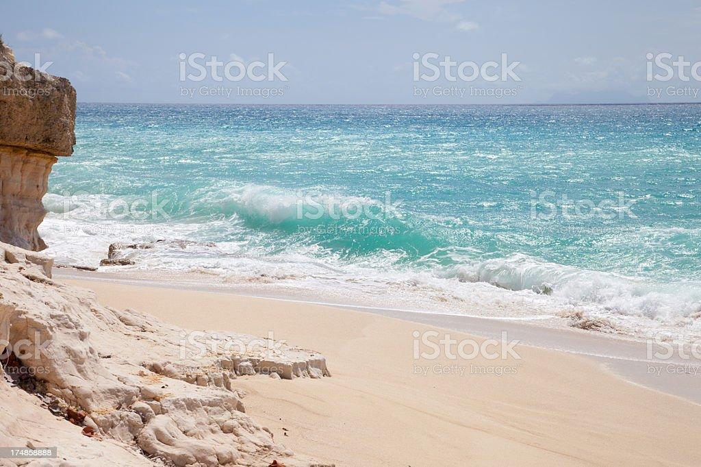 cliffs at  Cupecoy Beach on Dutch St. Maarten, West Indies stock photo