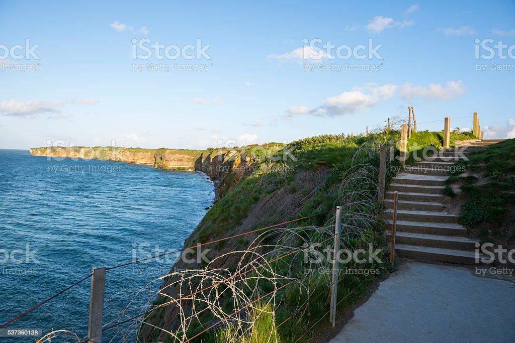 Cliffs at Pointe du Hoc, Normandy, France stock photo