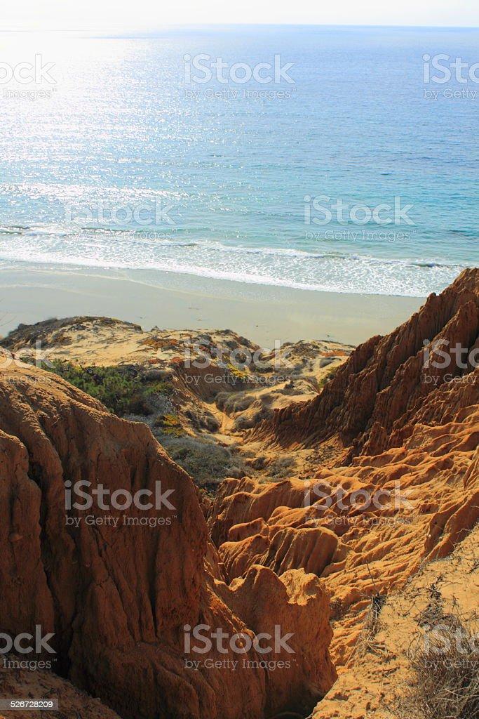 Cliffs at the beach stock photo