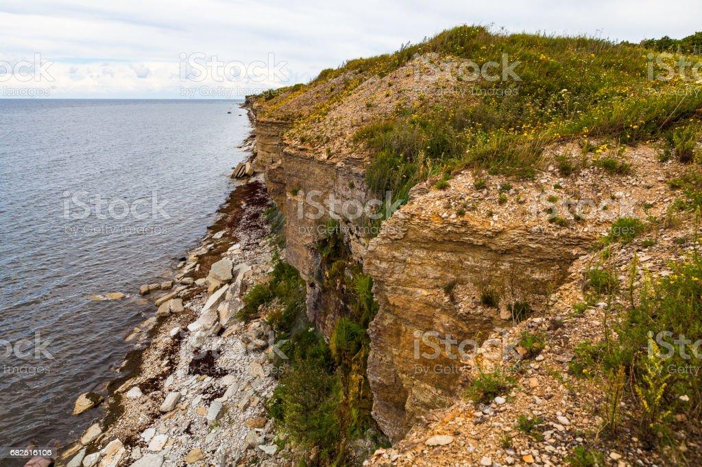 Acantilados de la costa en Paldiski, Estonia foto de stock libre de derechos