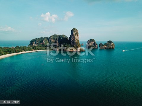 Aerial high angle view of the sandy coastline near Railay beach, in the Krabi province, Thailand.