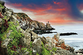 Cliffs close to Vina del Mar in the evening\n\n