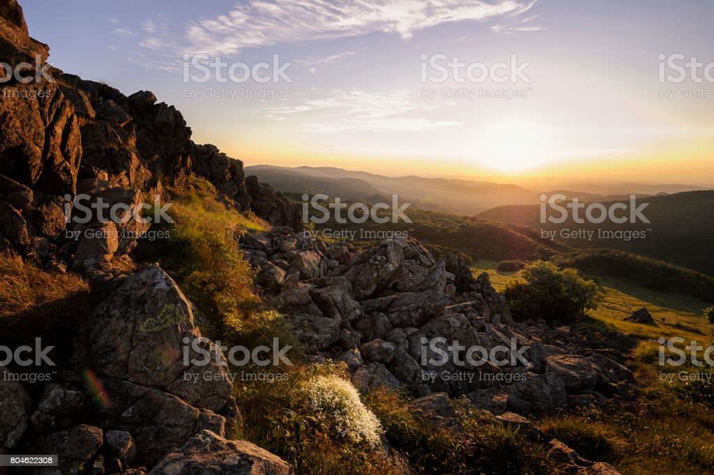 Cliffs facing the Sun stock photo