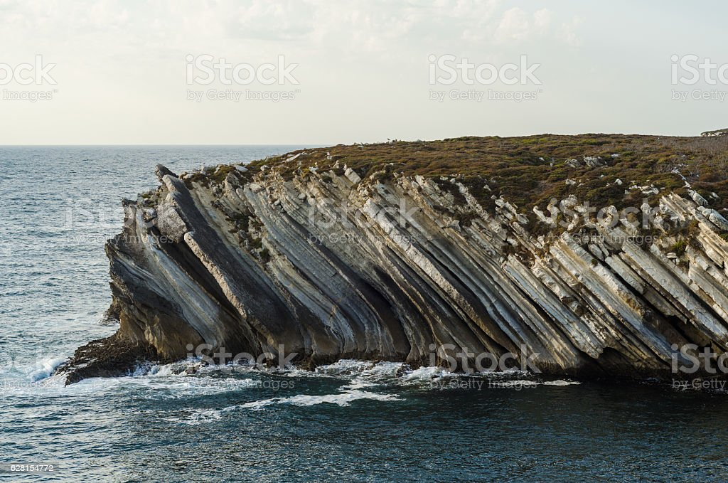 Cliffs in Baleal, Portugal. stock photo