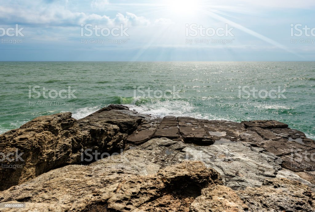 Cliffs in the Gulf of La Spezia - Punta Bianca Italy - Royalty-free Bay of Water Stock Photo