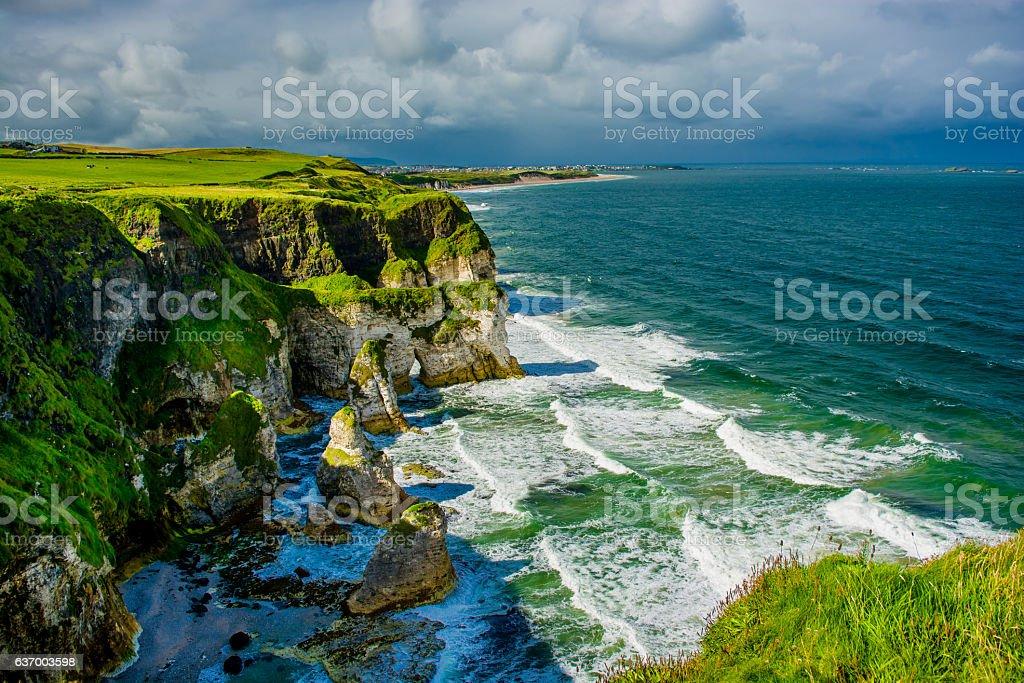 Cliffs near Portrush in Northern Ireland stock photo