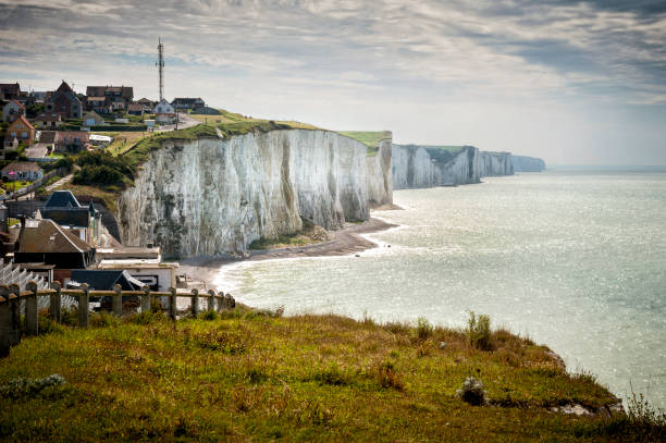 Cliffs of Ault city in Picardy, France Exceptionally located between Normandy and Picardy, between land and sea between the cliffs of Little Caux and the majestic Baie de Somme. somme stock pictures, royalty-free photos & images