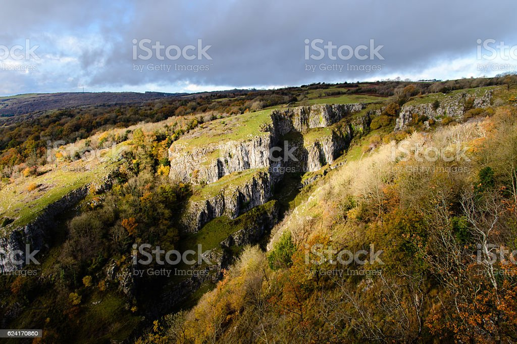 Cliffs of Cheddar Gorge from high viewpoint stock photo