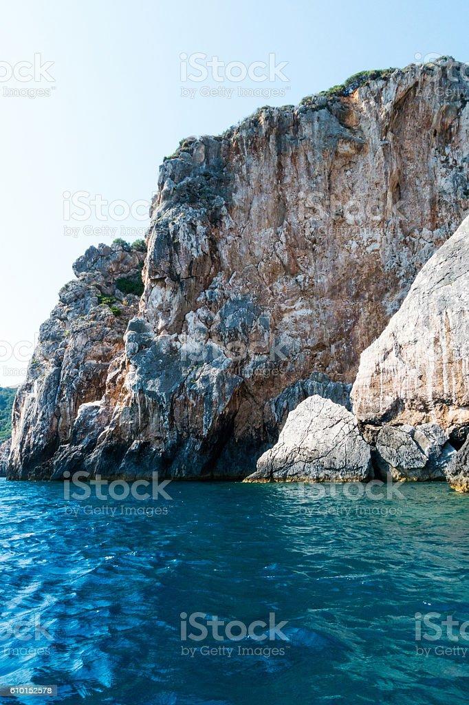 Cliffs of coast landscape in Greece stock photo
