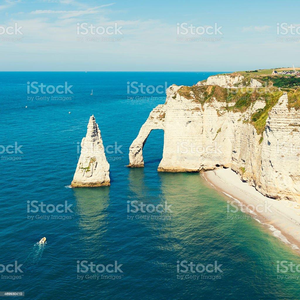 Cliffs of Etretat Normandy France stock photo