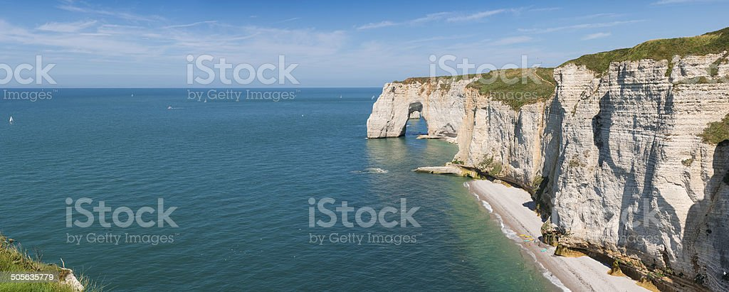 Cliffs of Etretat panorama stock photo