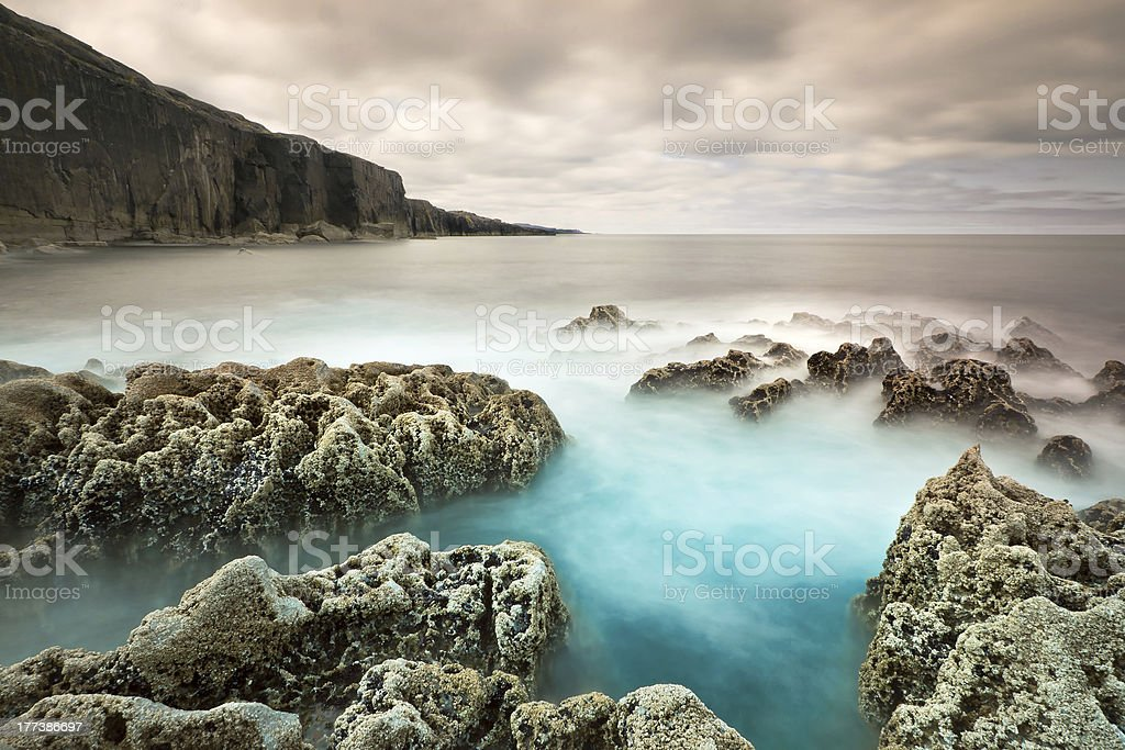 Cliffs of Fanore at Atlantic ocean stock photo
