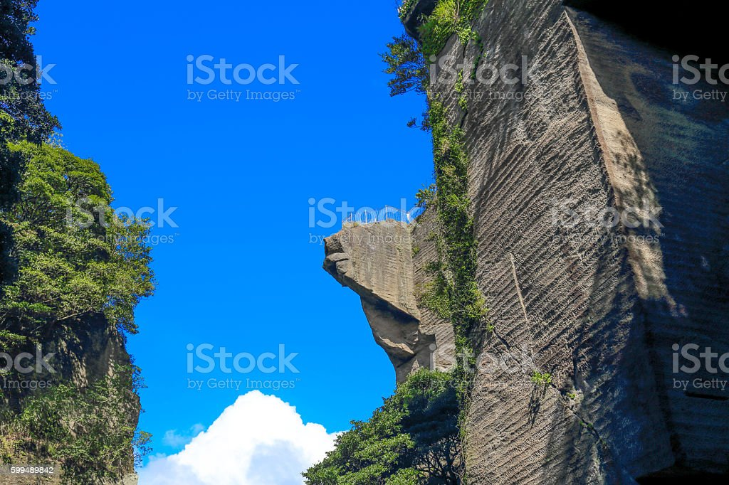Cliffs of hell peeping in japan(5) stock photo