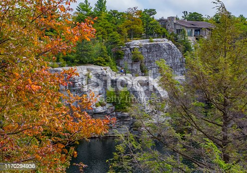An early Autumn view of the cliffs overlooking Lake Minnewaska in Ulster County New York.
