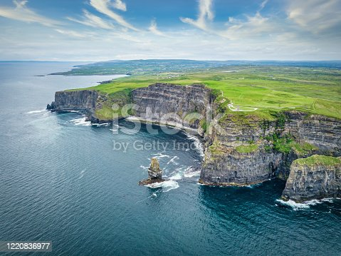 Scenic aerial view towards the famous Cliffs of Moher Coastline under beaitiful summer sky. Drone Point of View. Burren Region, County Clare, Ireland, Europe