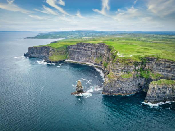 Cliffs of Moher Aerial View Ireland Wild Atlantic Way stock photo