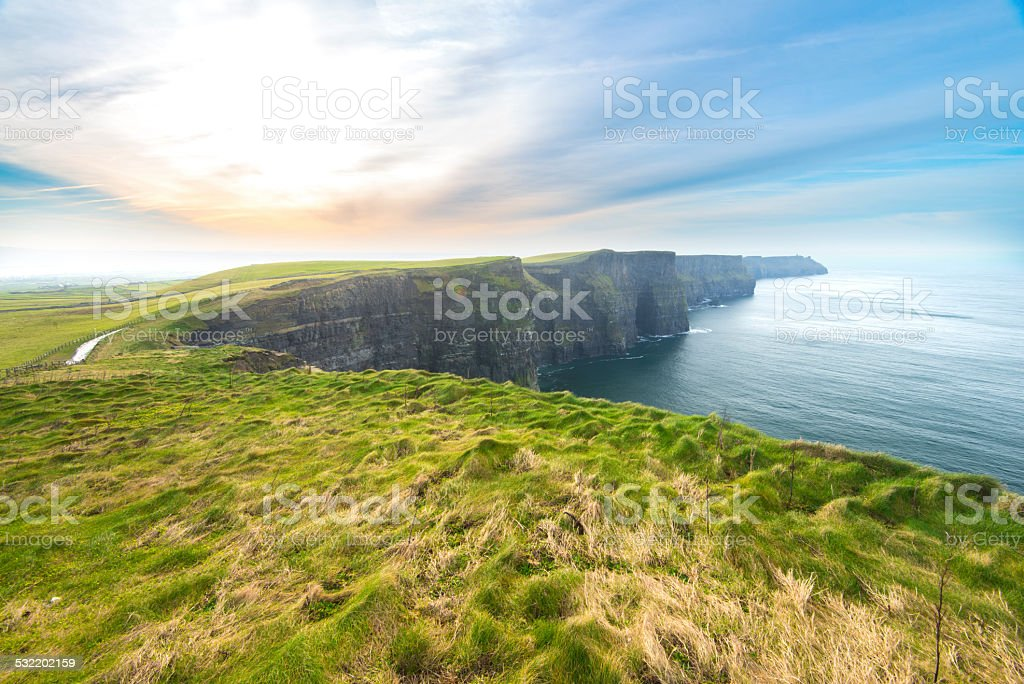 Cliffs of Moher and Atlantic Ocean stock photo