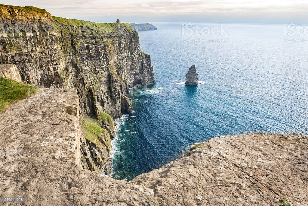 Cliffs of Moher and Branaunmore sea stack, Ireland stock photo