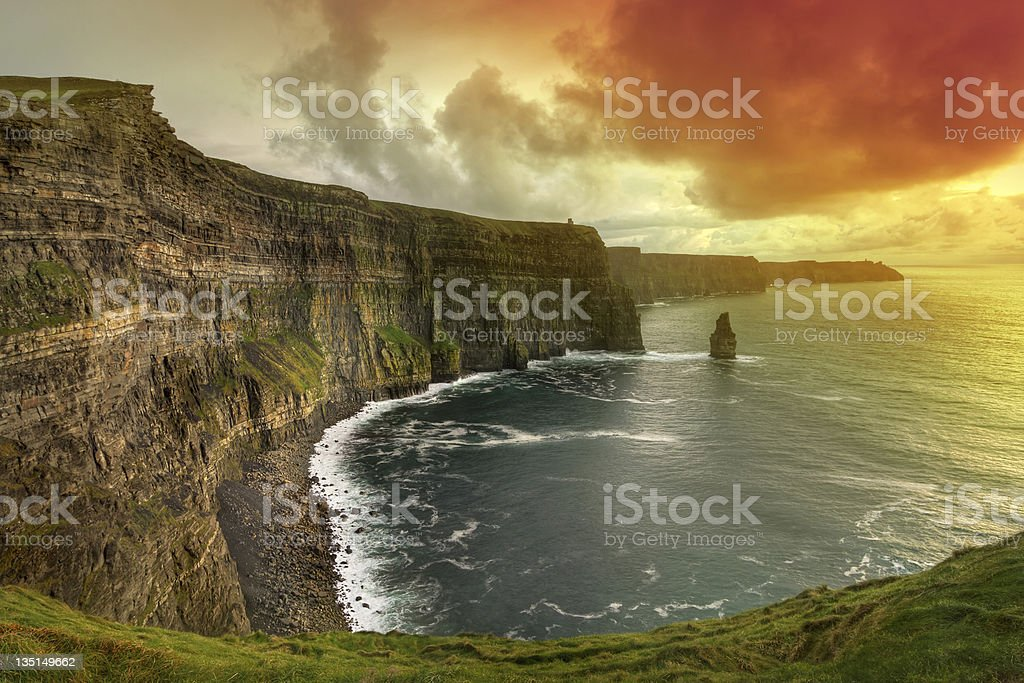 Cliffs of Moher at amazing sunset stock photo