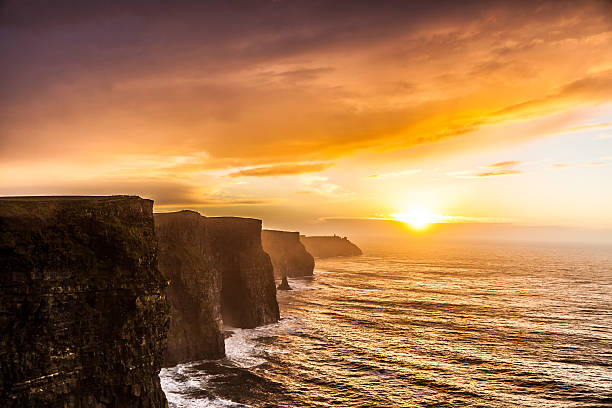 Cliffs of Moher at sunset in Co. Clare, Ireland Europe Famous cliffs of Moher at sunset in Co. Clare Ireland Europe. Beautiful landscape natural attraction. cliffs of moher stock pictures, royalty-free photos & images