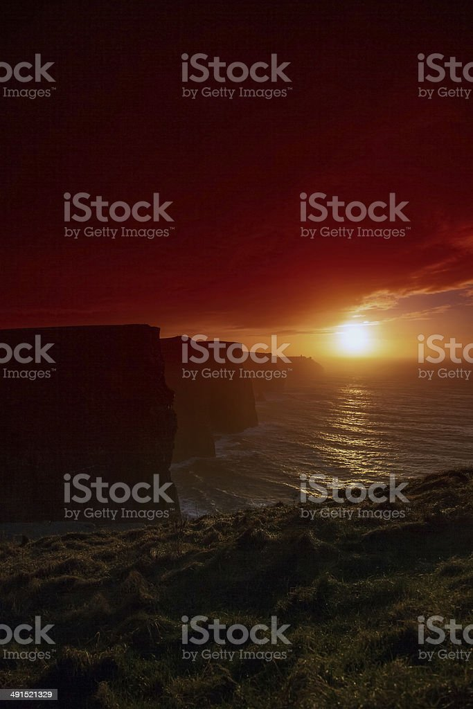 Cliffs of Moher at sunset in Co. Clare Ireland Europe royalty-free stock photo