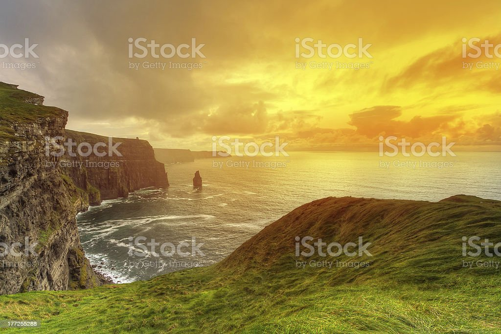 Cliffs of Moher at sunset royalty-free stock photo