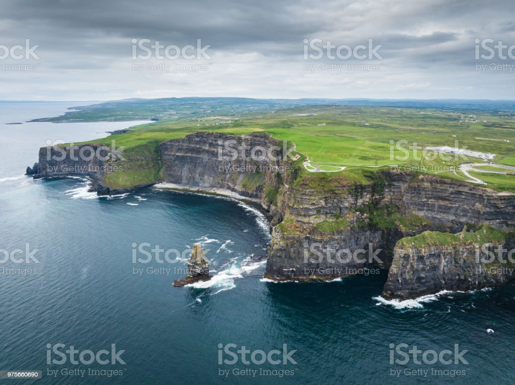 Cliffs of Moher Ireland Aerial Wild Atlantic Way - Royalty-free Aerial View Stock Photo