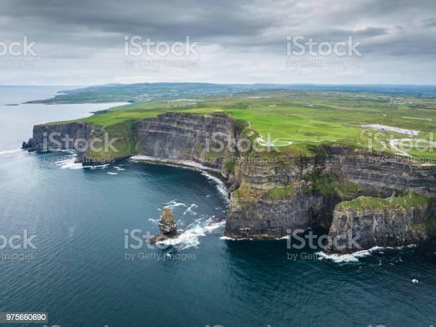 Cliffs Of Moher Ireland Aerial Wild Atlantic Way Stock Photo - Download Image Now