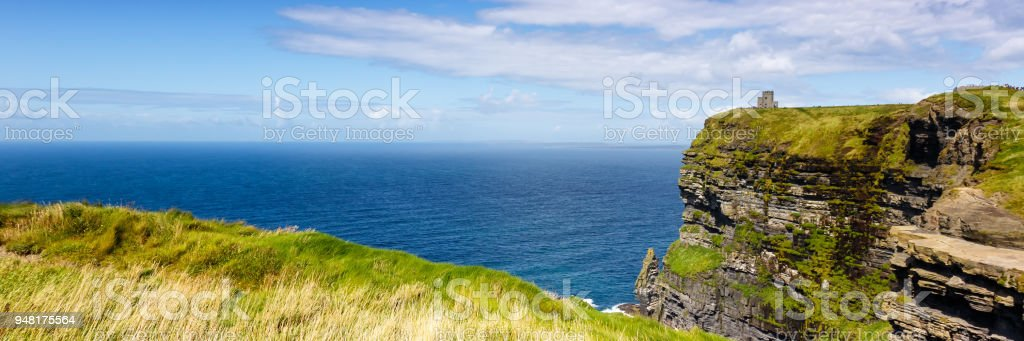 Cliffs of Moher Ireland panoramic view travel traveling sea nature stock photo