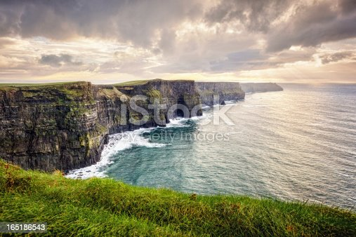 Cliffs of Moher, County Clare, Ireland, The Burren, Europe are one of Ireland's top touristic attractions. The maximum height of Cliffs is 214 m, lenght 8 km.