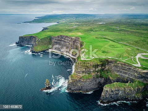Areal drone pointt of view towards the beautiful and famous Cliffs of Moher under dramatic skyscape in summer. Burren Region, County Clare, Ireland