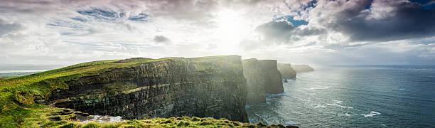cliffs of moher, ireland, xxxl panorama - cliffs of moher stock pictures, royalty-free photos & images