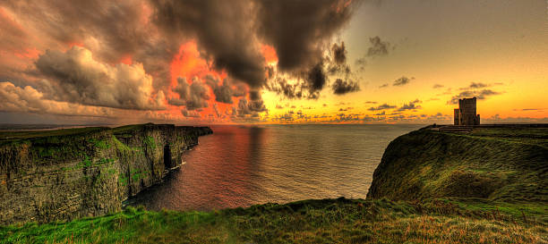 cliffs of moher & o'briens tower, co clare. ireland - cliffs of moher stock pictures, royalty-free photos & images