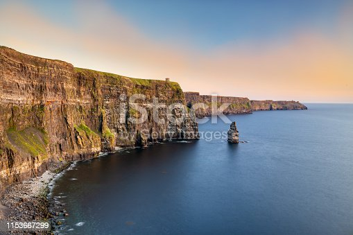 214 meters high Cliffs of Moher with O'Briens's Tower