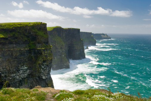 The Cliffs of Moher in County Clare are one of the tallest sea cliffs in Ireland and is a popular tourist destination.