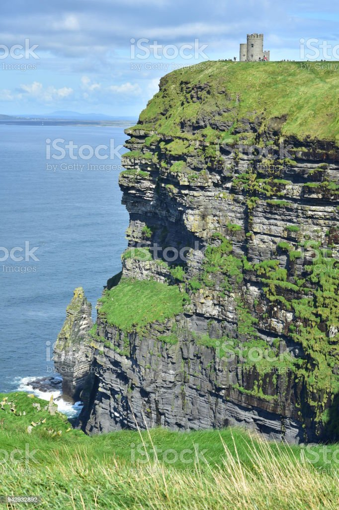 Cliffs of Moher with O'Brien's Tower stock photo