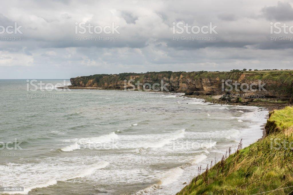 Cliffs of Ponte Du Hoc, Normandy stock photo