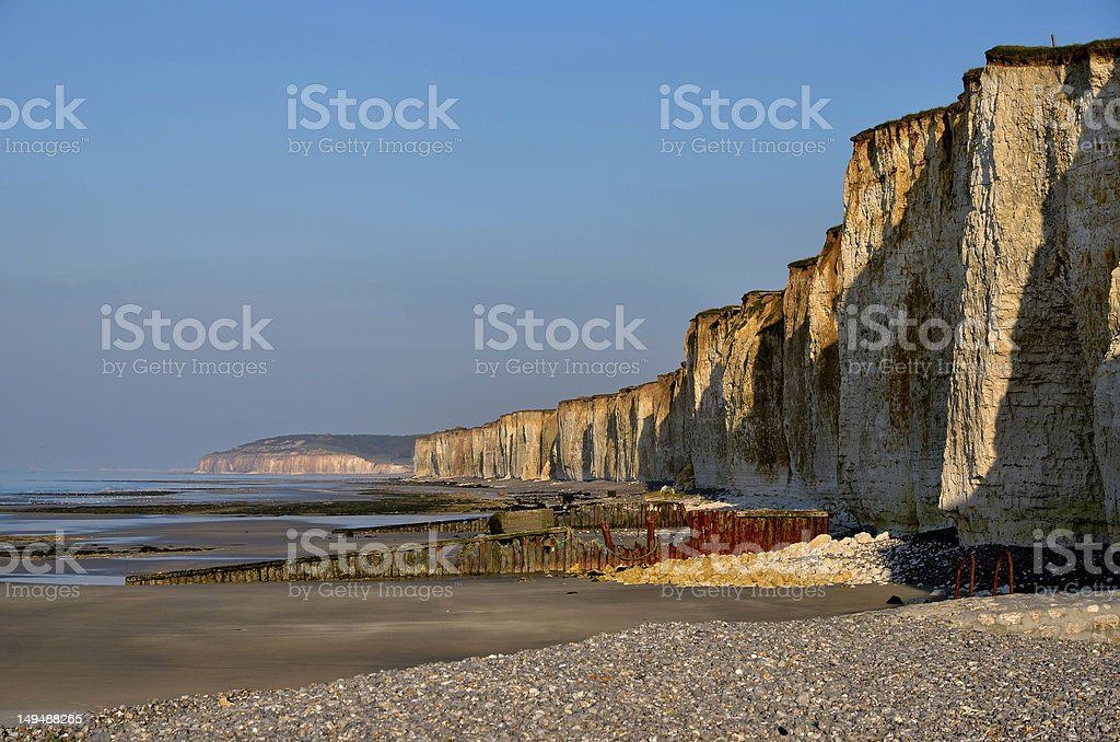 Cliffs of Saint Aubin sur Mer in France stock photo