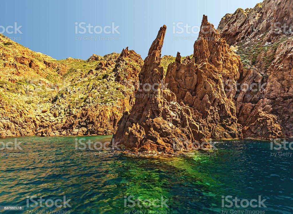 Cliffs of Scandola coastline stock photo