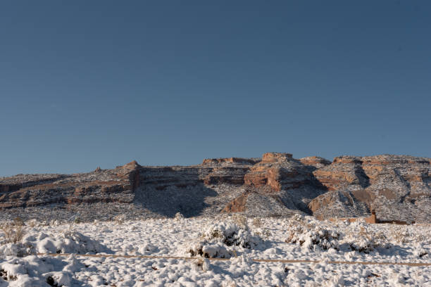 Cliffs of the Colorado National Monument with snow stock photo