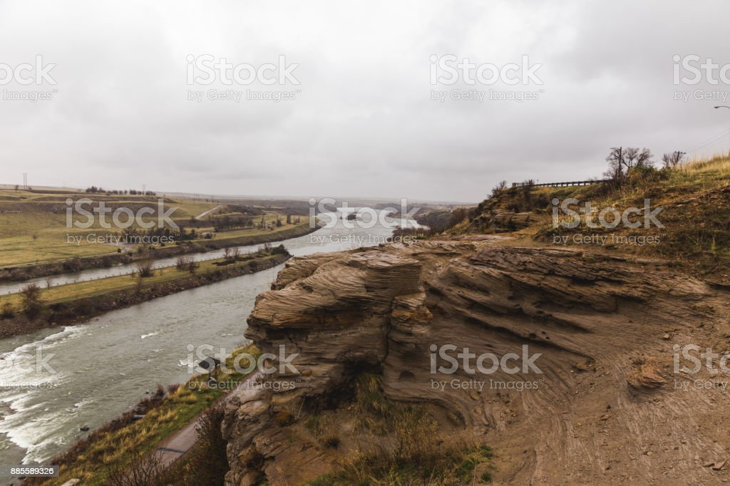 Cliffs of the Missouri River stock photo
